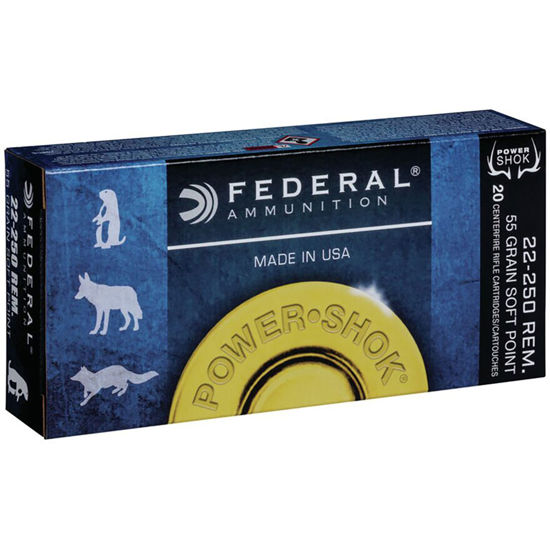 Picture of Federal .22-250  55gr Soft Point Power Shok